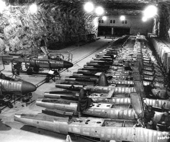 Assembling the German jet aircraft Heinkel He-162 Salamander on the underground plant in Germany