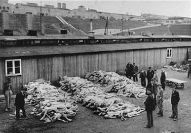 The corpses are piled at Mauthausen